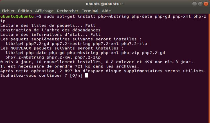 Screenshot de l'ajout d'extensions php sous Ubuntu