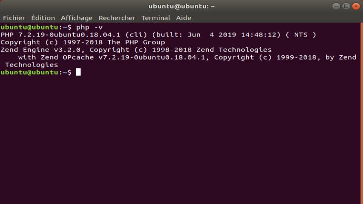Screenshot de la commande php -v sous Ubuntu