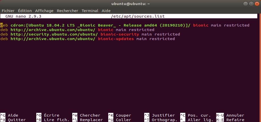 Screenshot de la commande nano sous Ubuntu