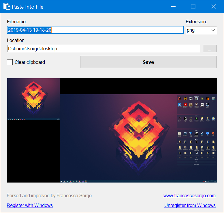Paste Into File with image preview