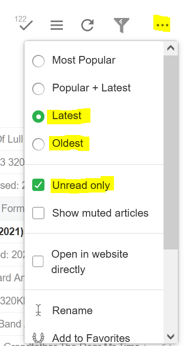 Feedly settings