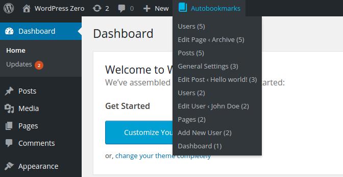 WordPress Autobookmarks