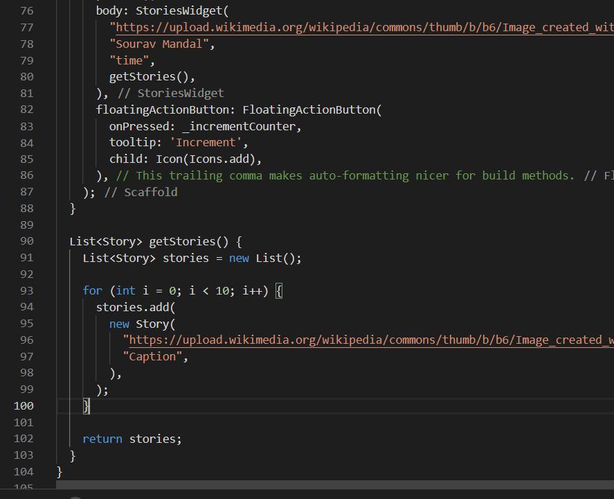 Screenshot of implementation