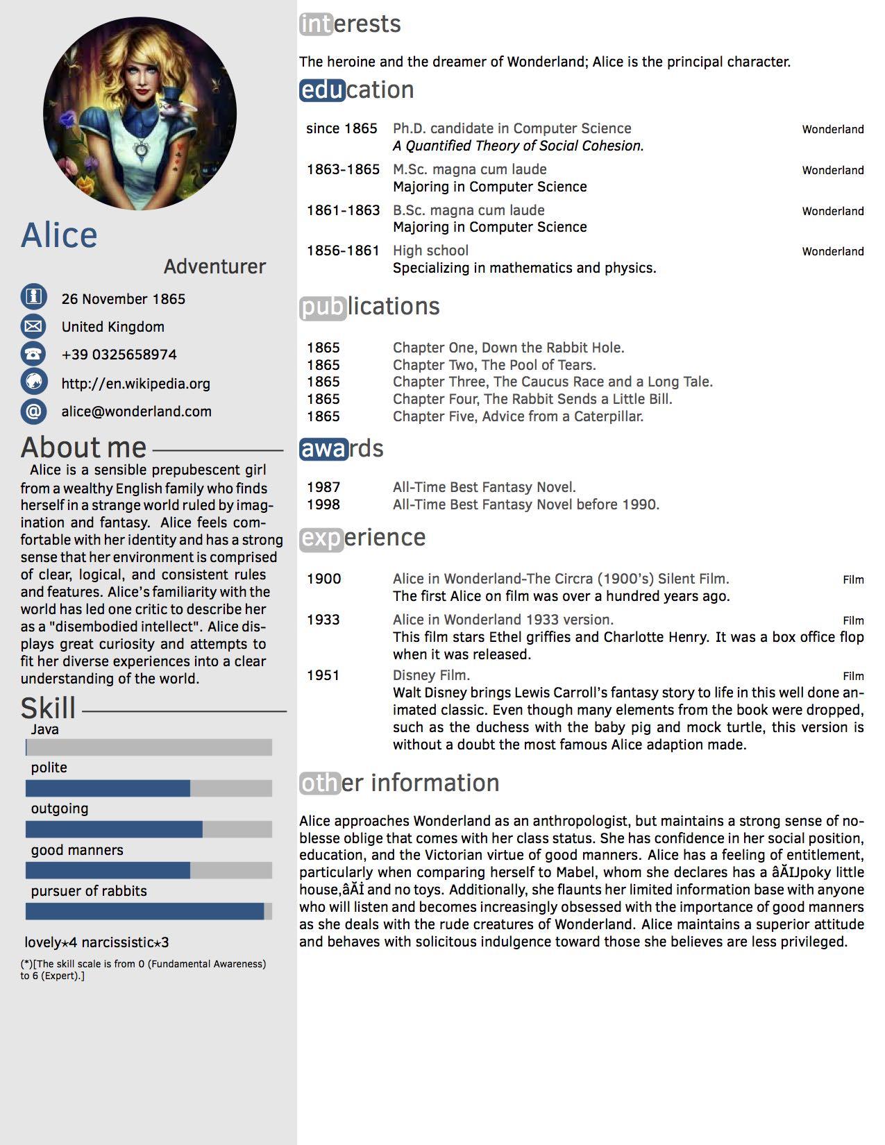 sample résumé
