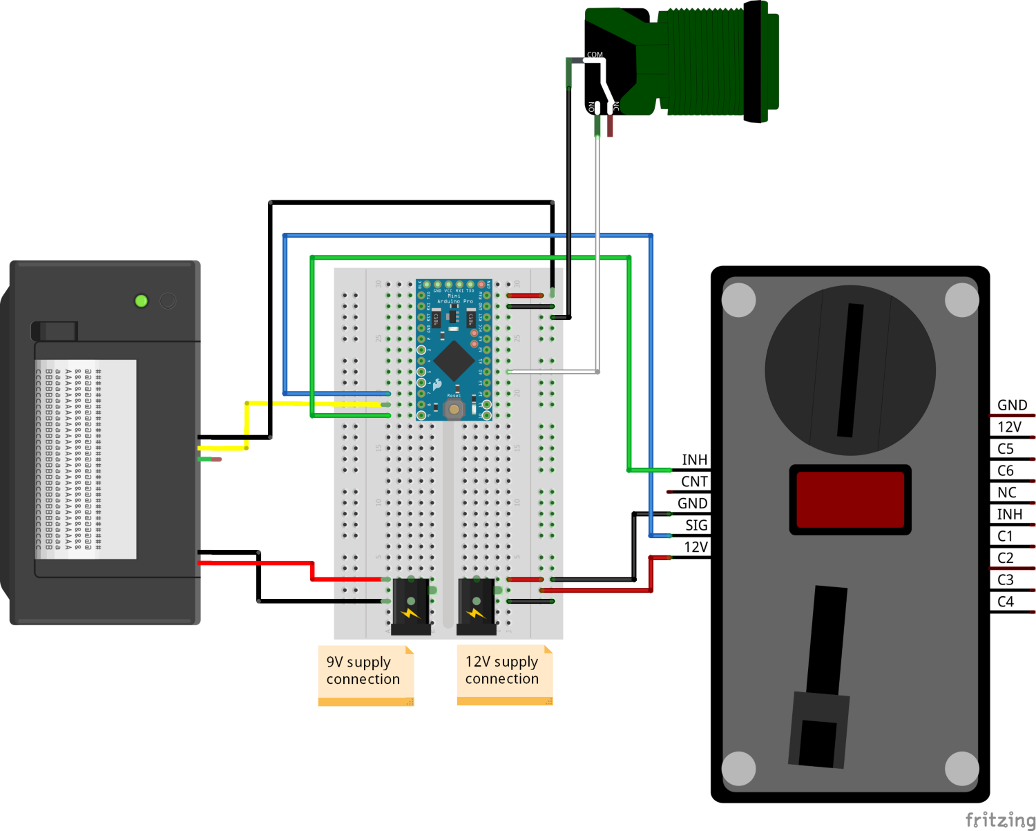 Thermal Printer and Coin Acceptor Fritzing Example