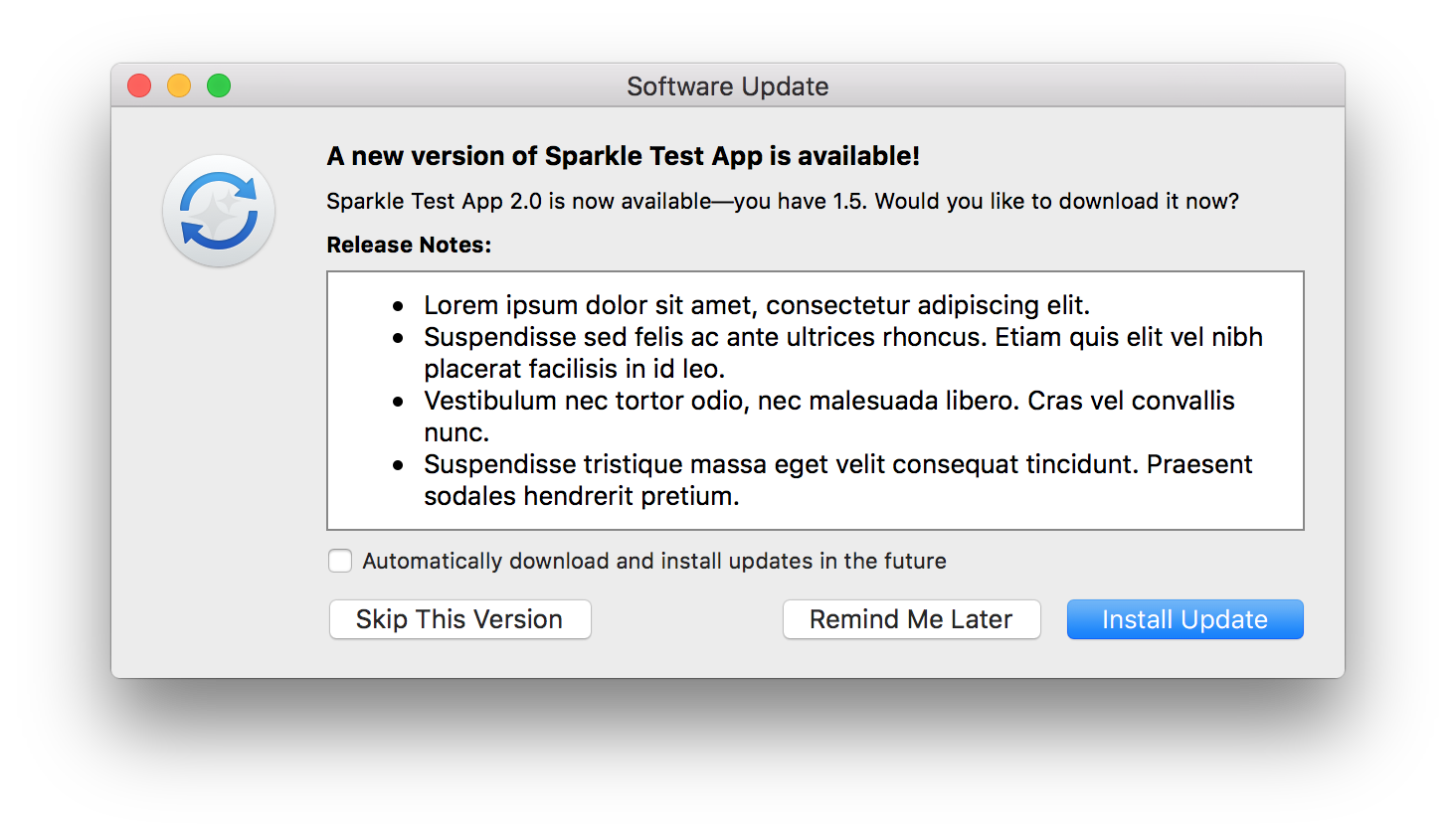 Sparkle shows familiar update window with release notes
