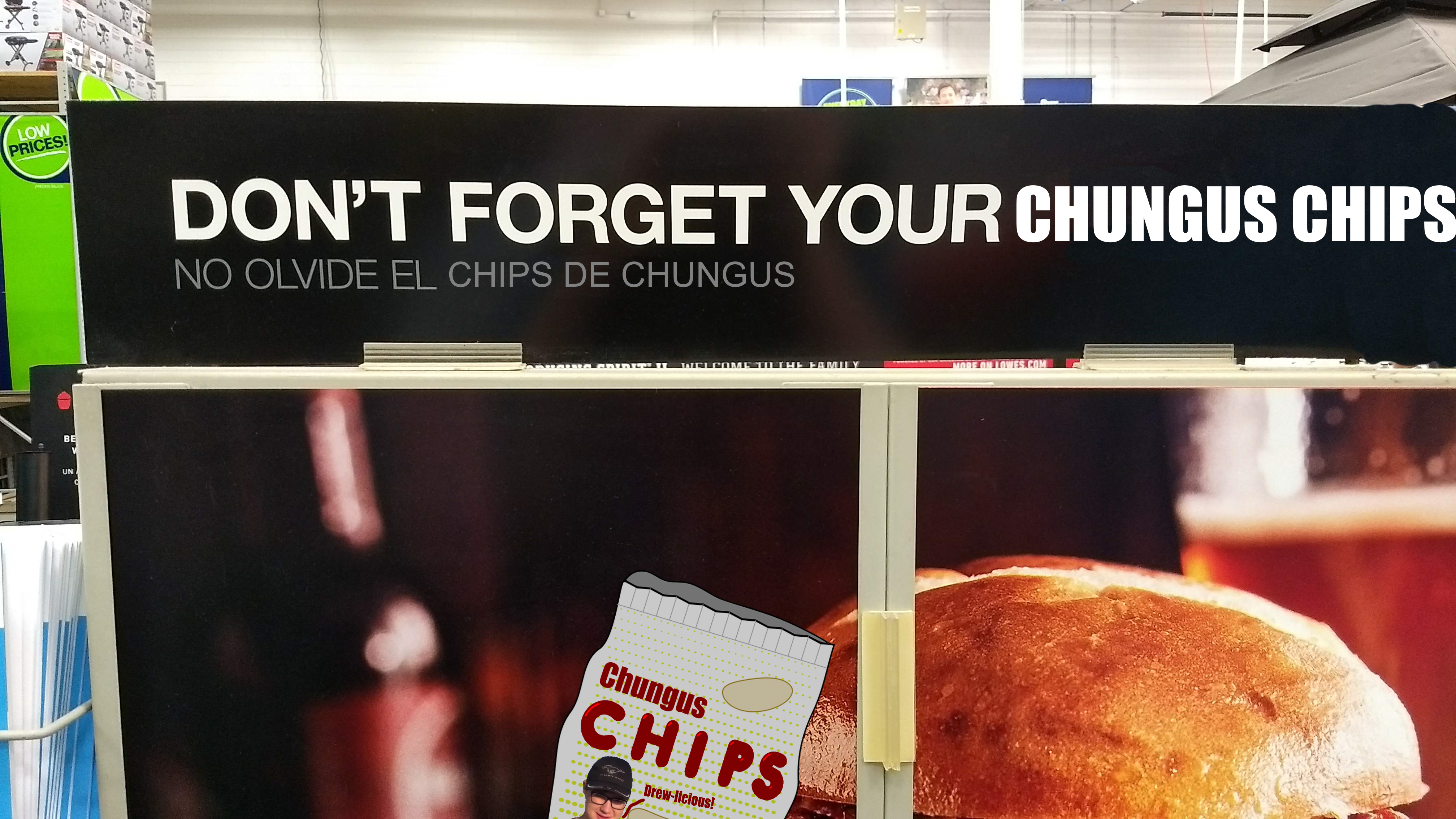 Image of Lowe's Chungus chips sign