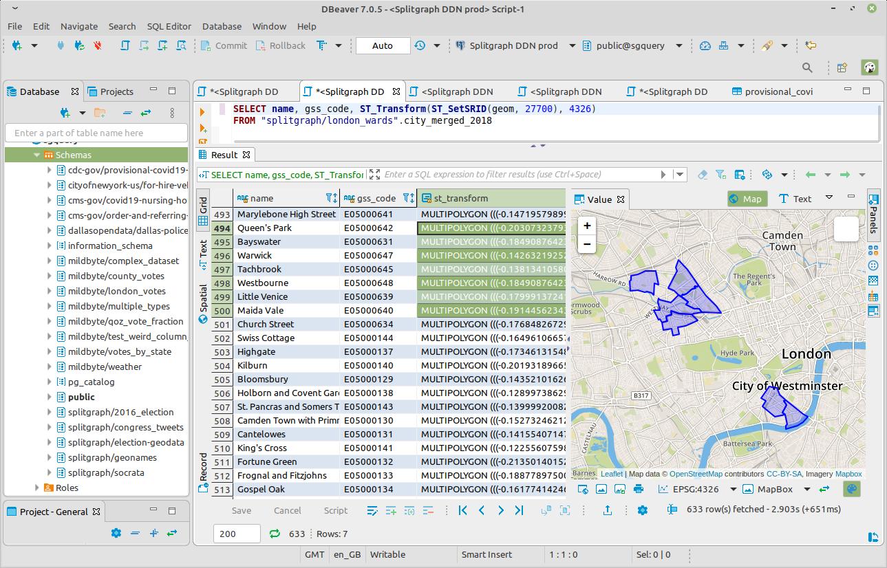 PostGIS data on Splitgraph SQL endpoint