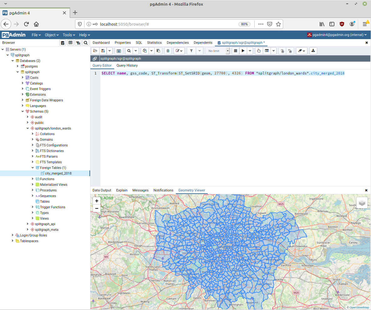Screenshot of pgAdmin running a PostGIS query on the Splitgraph engine
