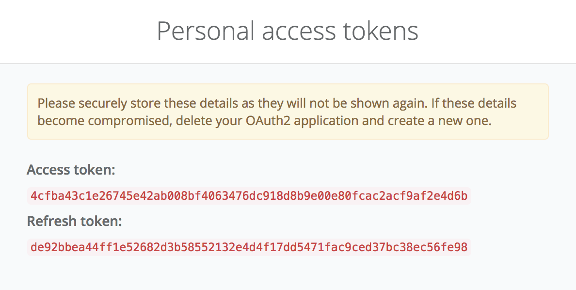 Split personal OAuth2 tokens