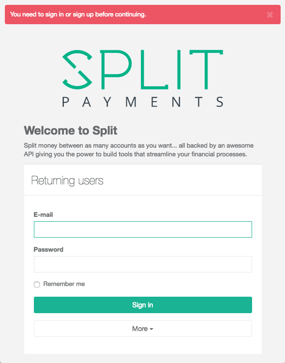 Signin Split to authorise via OAuth2