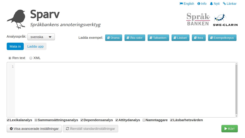 Sparvs webbgränssnitt