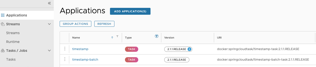 Task Application Versions