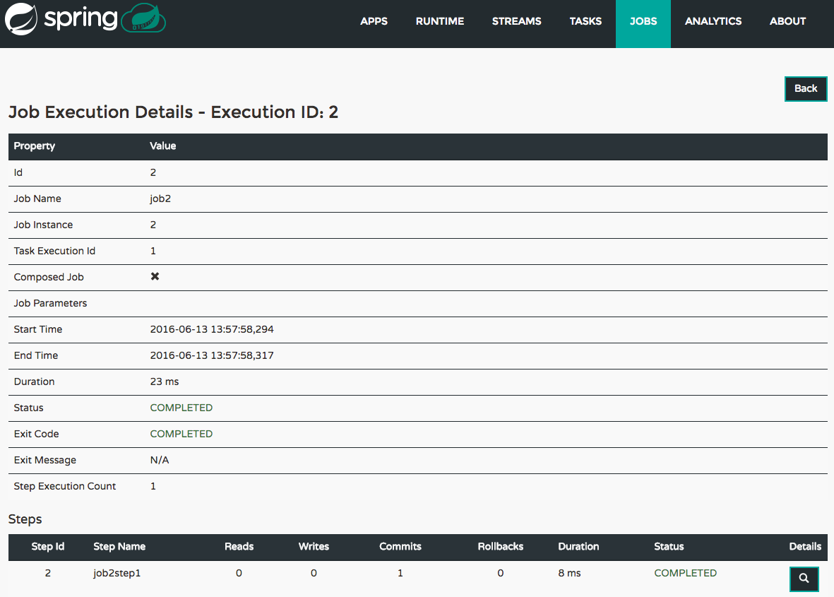 Job Execution Details