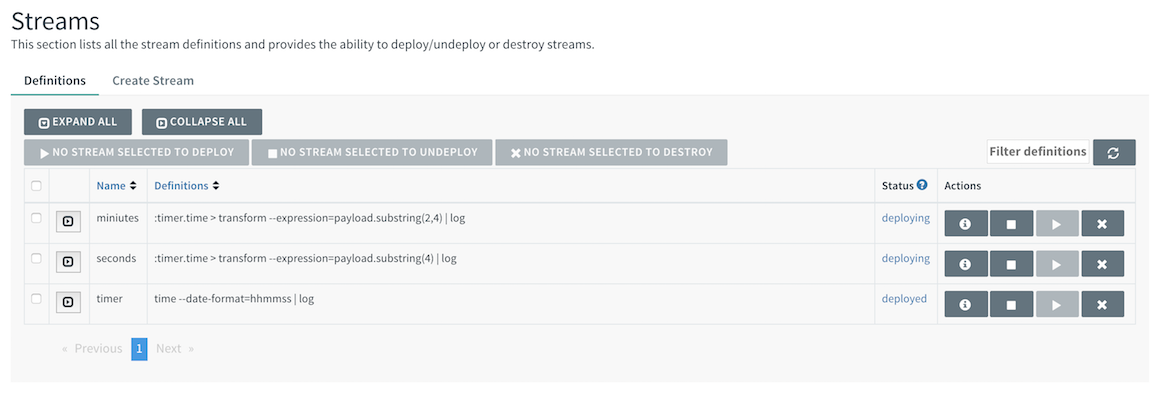 List of Stream Definitions
