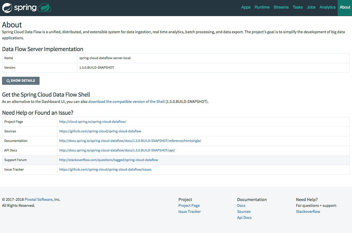 The Spring Cloud Data Flow Dashboard