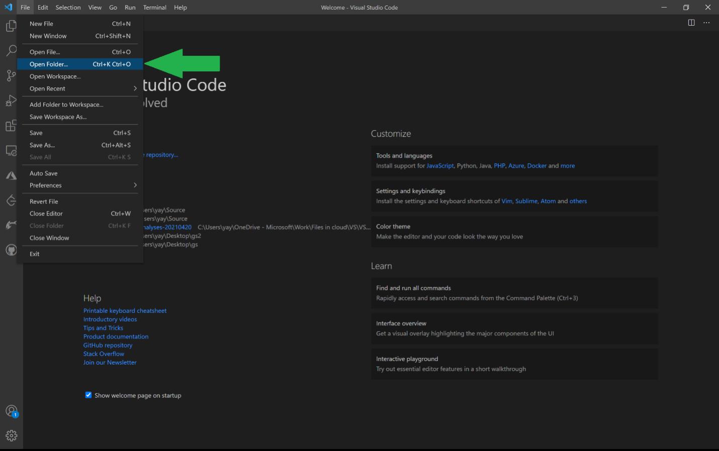Open a specific folder in VS Code
