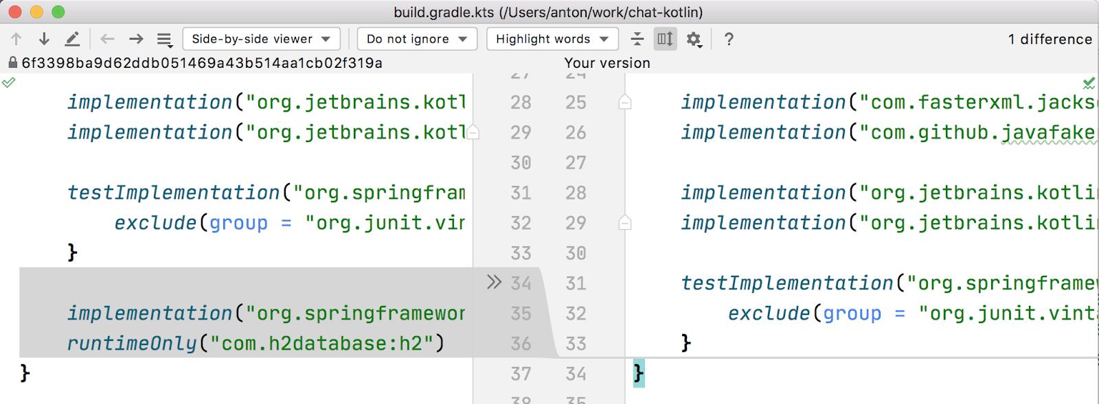 intellij git compare with branch file diff