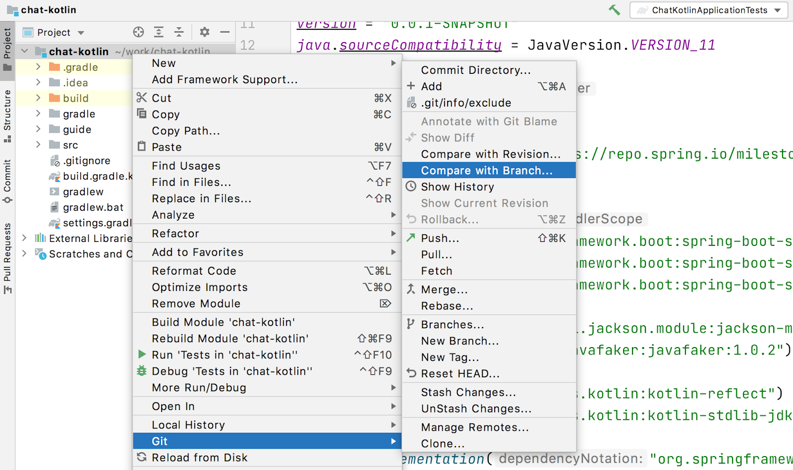 intellij git compare with branch