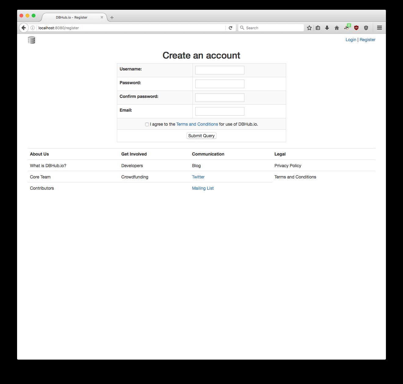 DBHub.io Registration page