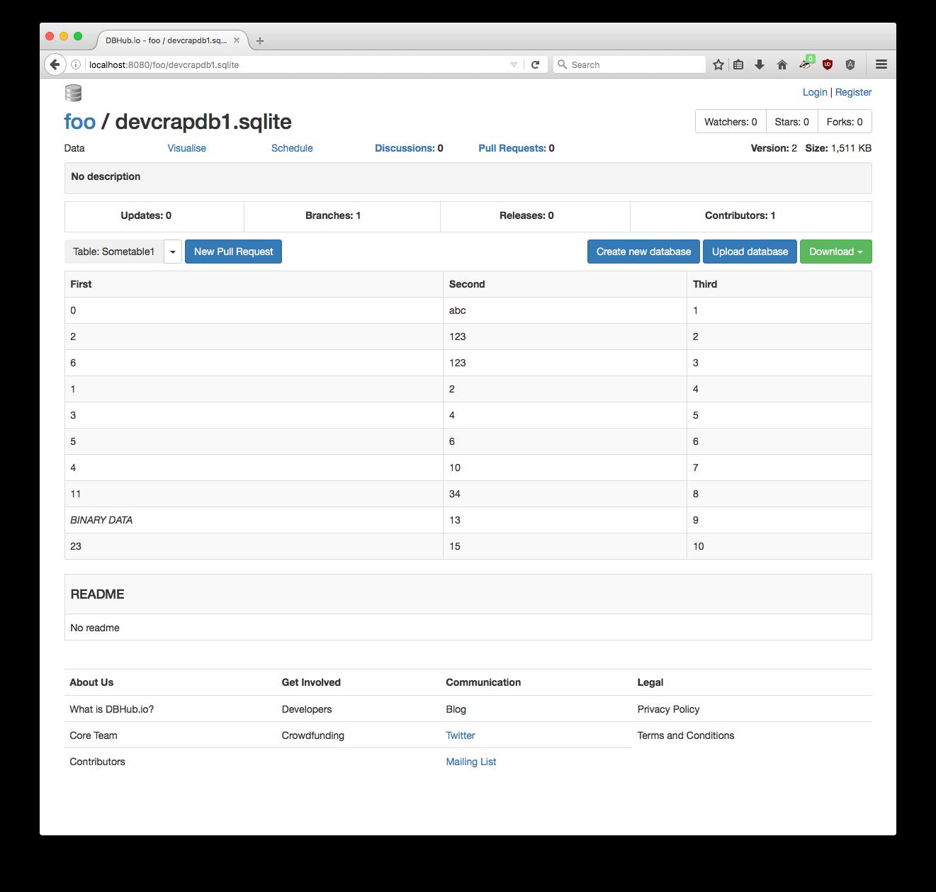 DBHub.io Database page