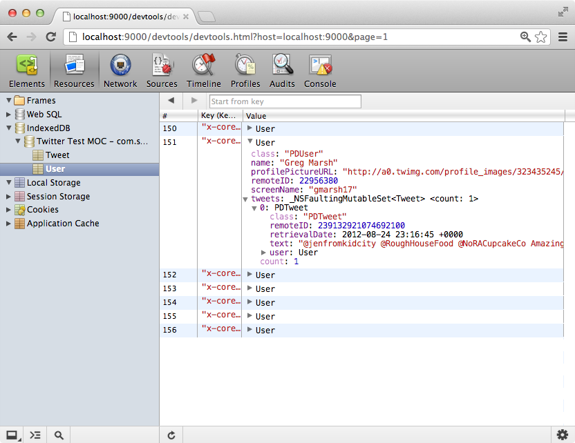 PonyDebugger Core Data Browser Screenshot