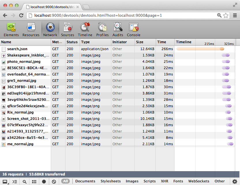 PonyDebugger Network Debugging Screenshot