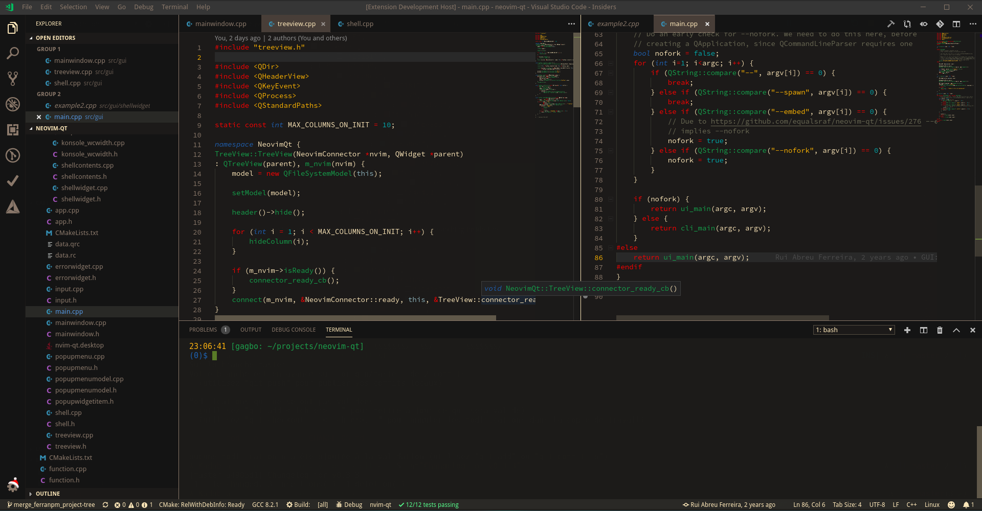 Screenshot of neovim-qt code