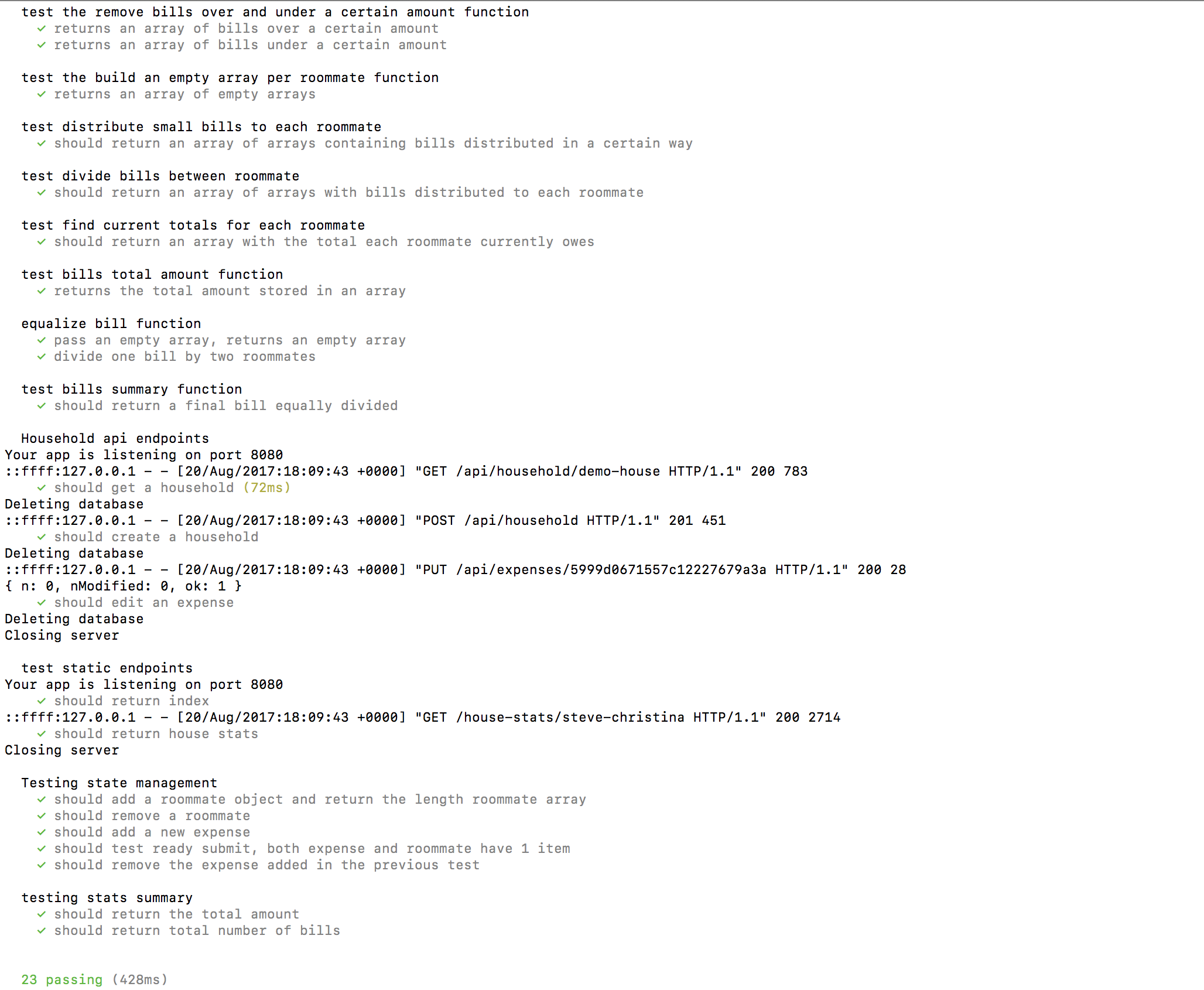 image of unit tests and endpoint test