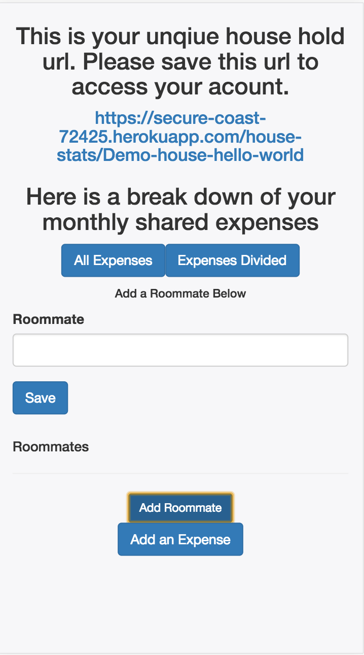 mobile add a new roommate in the stats page