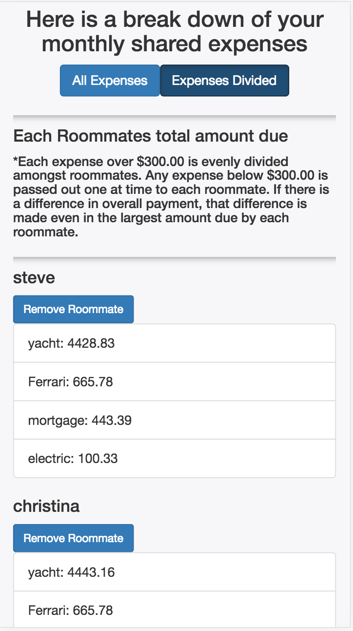 mobile rendering for roommates expenses