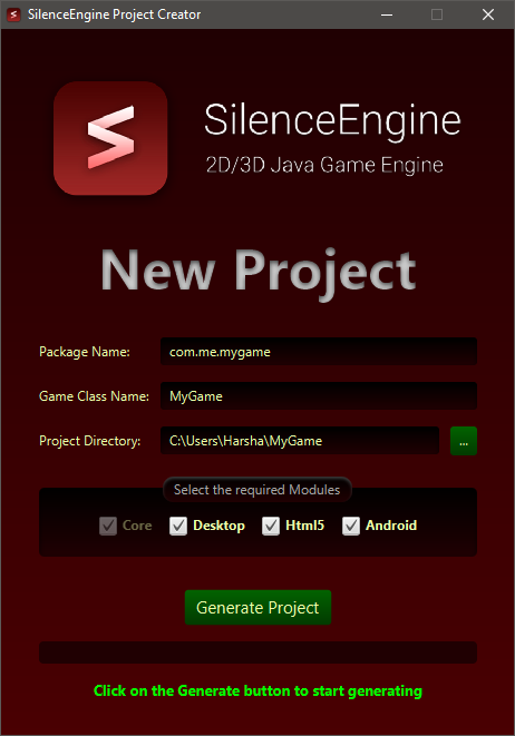 Project Creator User Interface