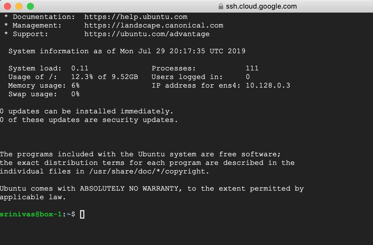 Google Cloud SSH Connect