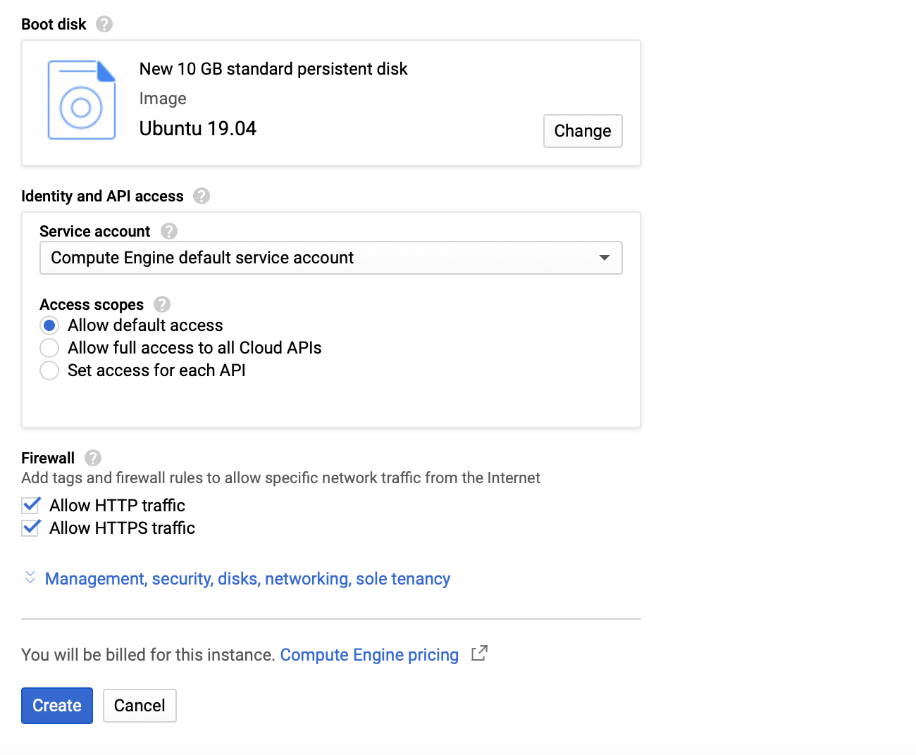 Google Cloud VM instance Operating system