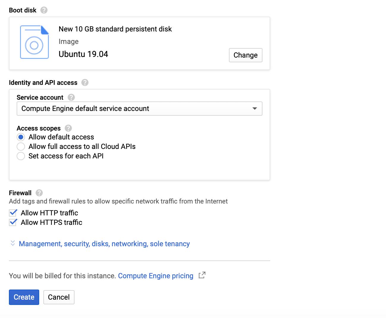 Google Cloud VM instance Operating system