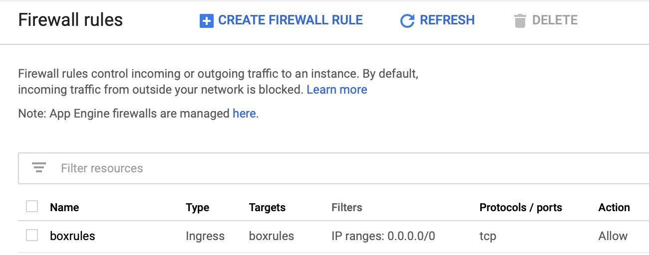 Google Cloud Firewall Setting