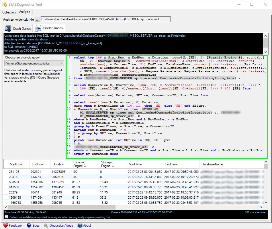 SSAS Diagnostics Tool - SQL callout