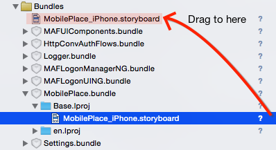 Add MobilePlace_iPhone.storyboard to project