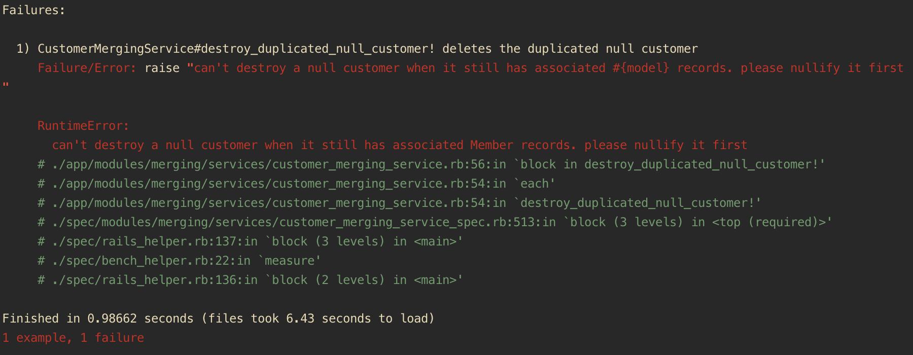 normal rspec error message