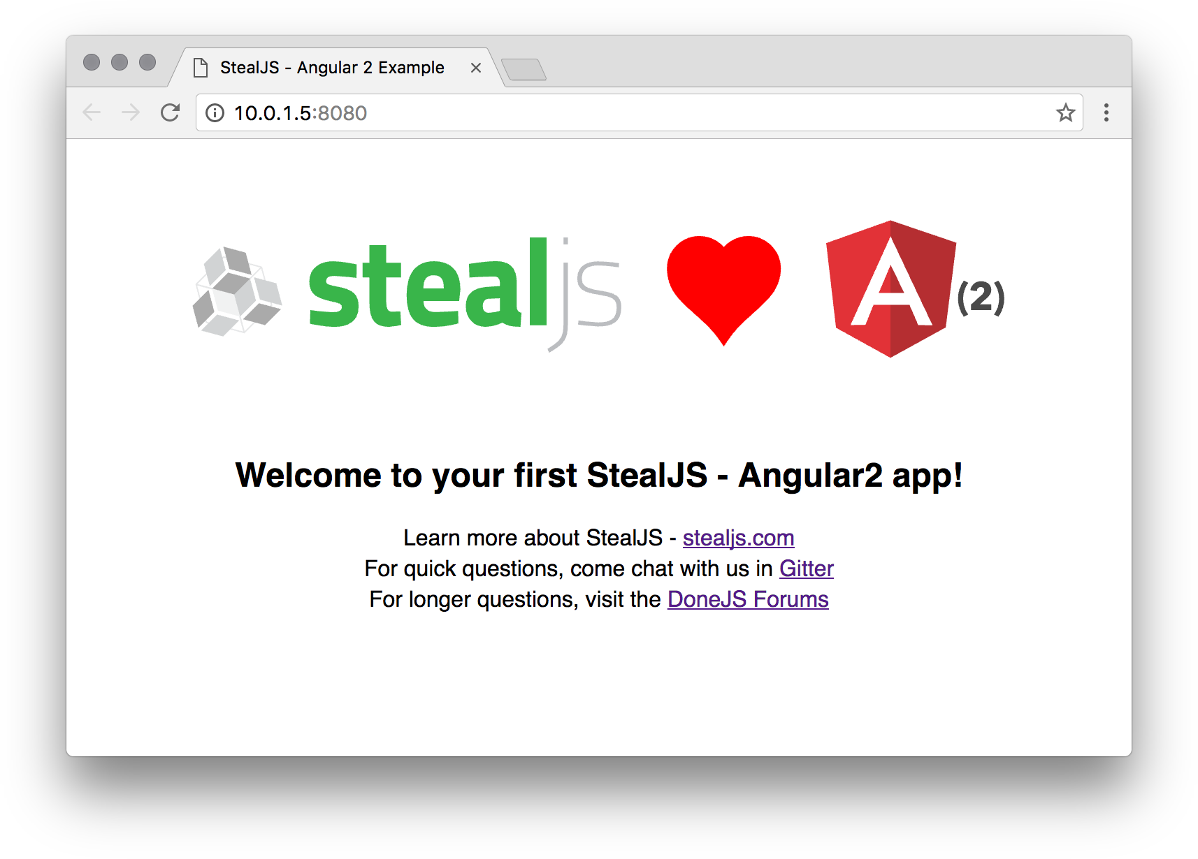Steal-Angular2 Example Screenshot