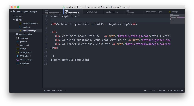 Steal-Angular2 Template Screenshot