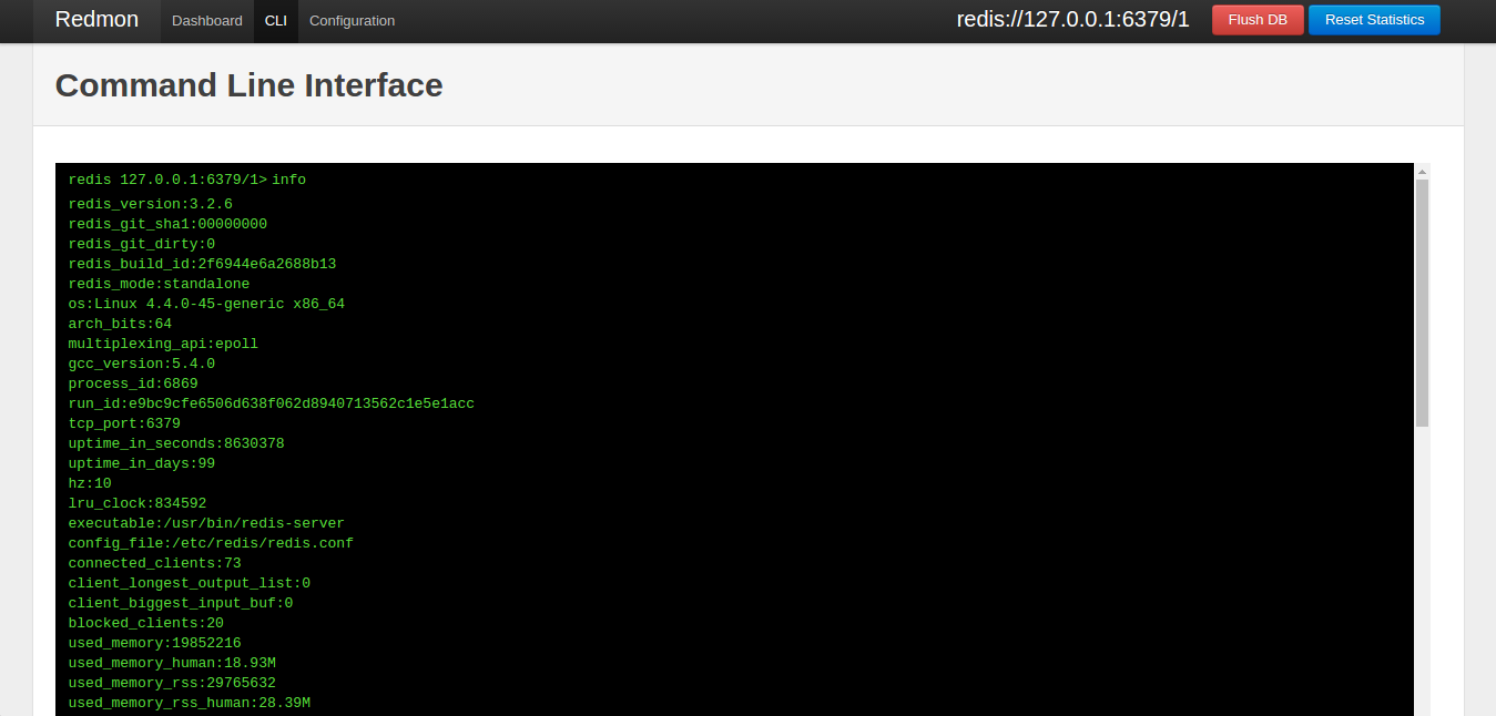 Interact with redis using a familiar cli interface.