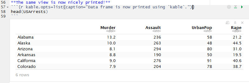 Viewing data frames in R Notebooks in RStudio