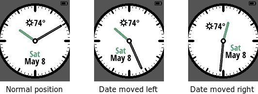 The date is always visible on the Obsidian watch face