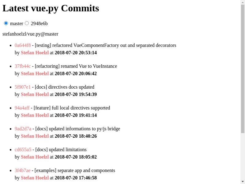 GitHub Commits Screenshot