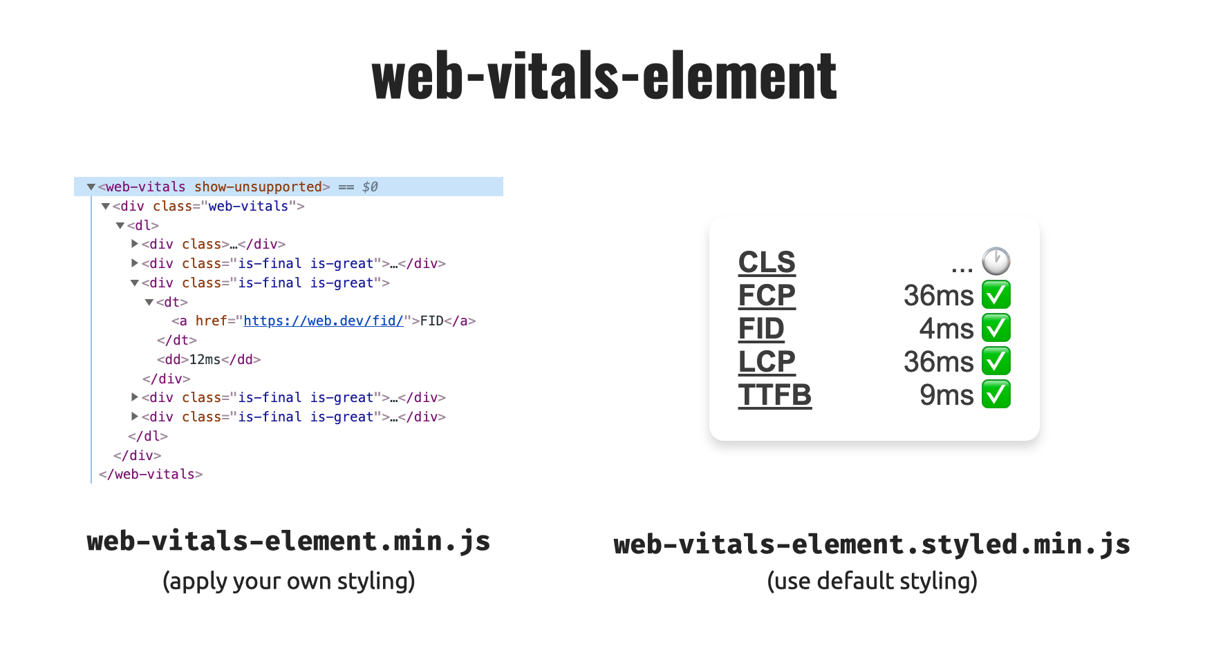 web-vitals-element in styled and unstyled version