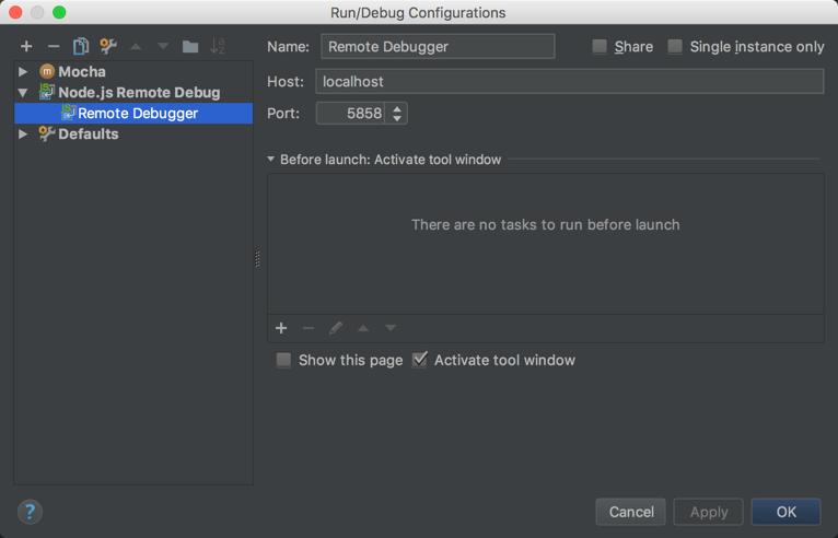 Remote Debugger Configuration in WebStorm