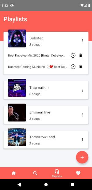 Playlists screen