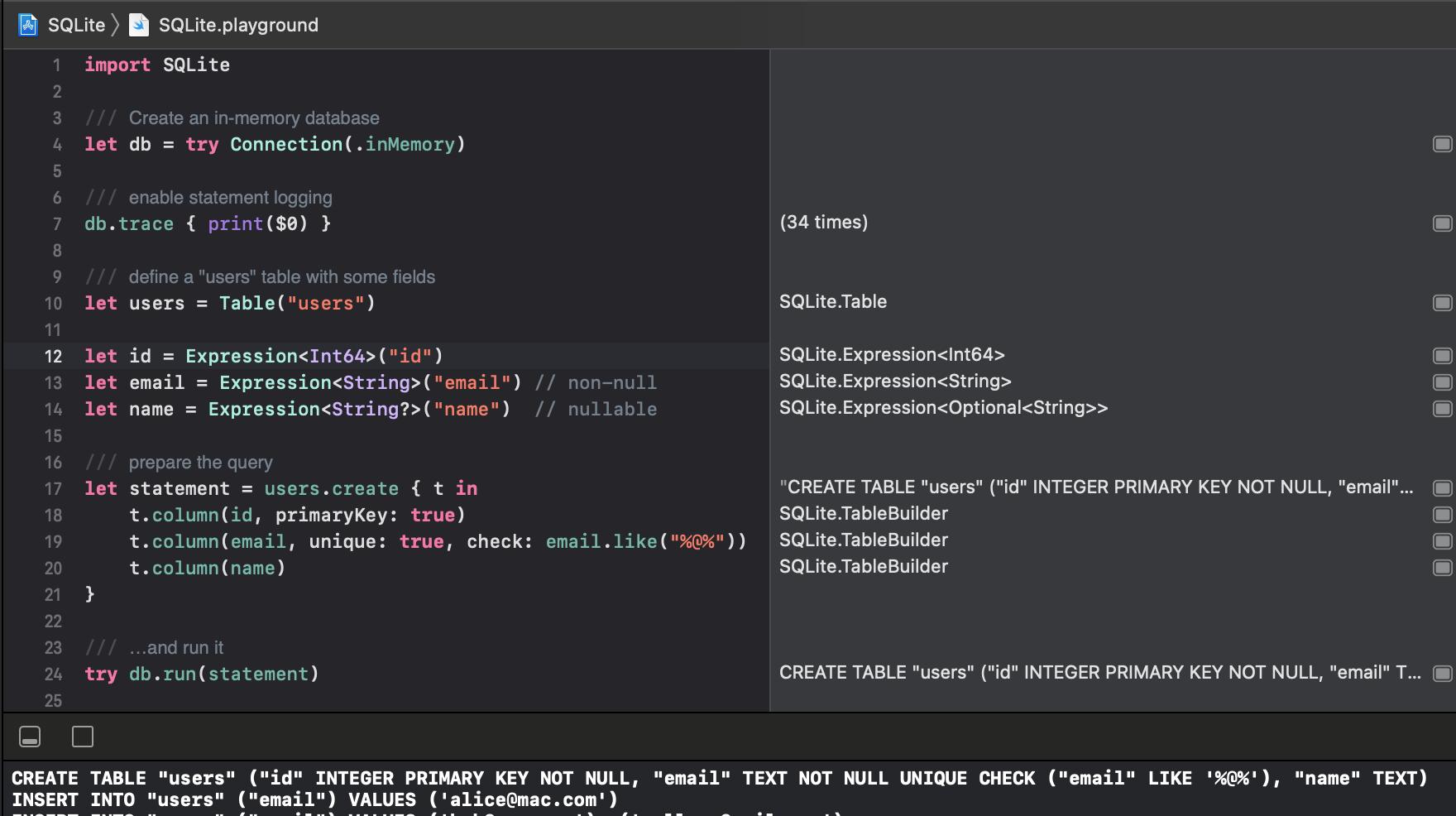 SQLite.playground Screen Shot