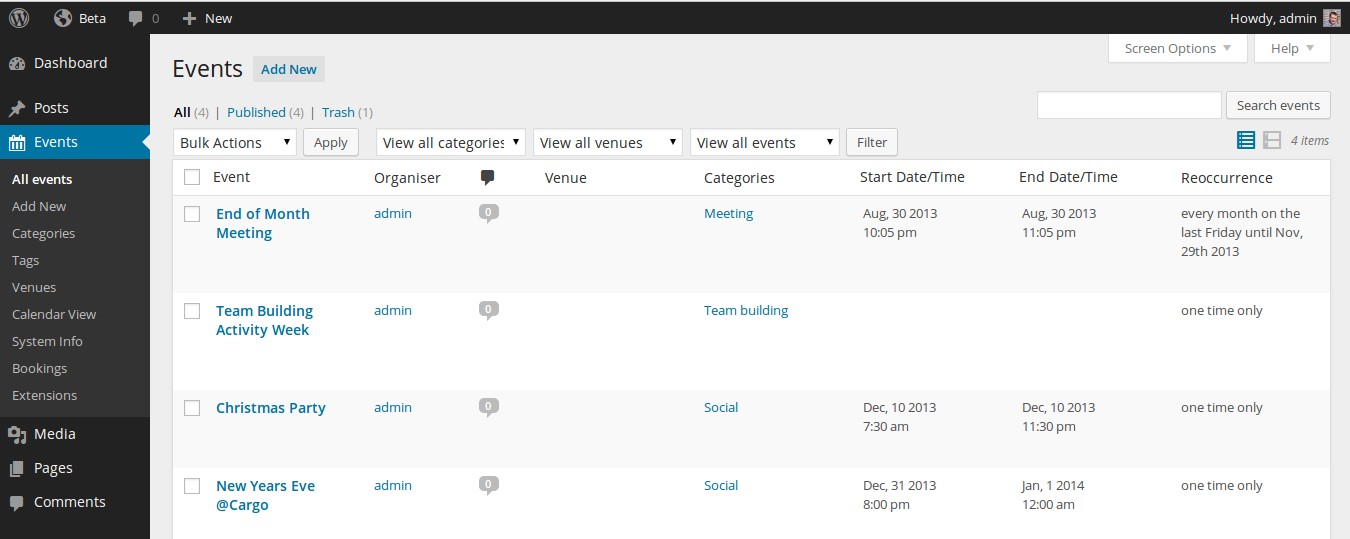 Event admin screen